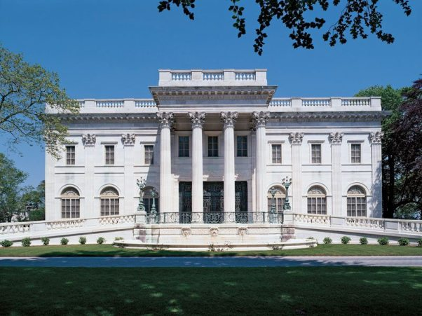Exterior view of Marble House in Newport, Rhode Island.