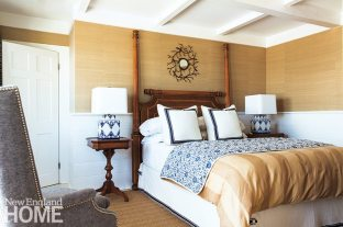 Acevedo carried blue and white accents into the master bedroom, the space he considers the most luxe in the house.
