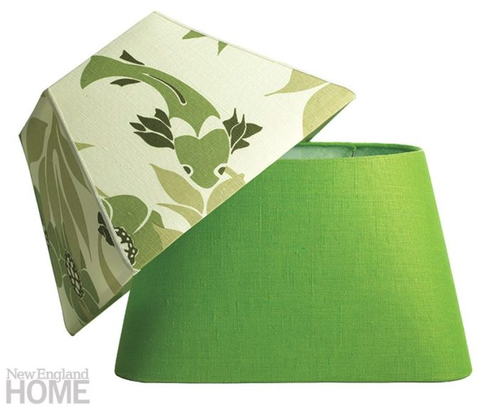 A four-sided contemporary shade, in a Lulu DK linen print, partners with a rounded version in solid green linen.