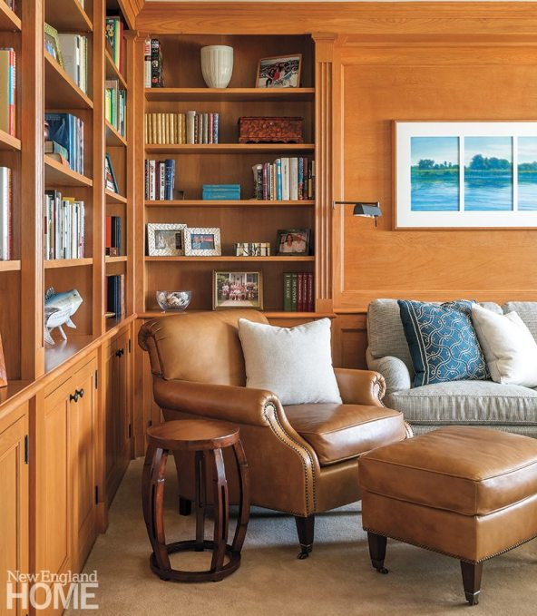 The library offers the best of both worlds: a welcoming fireplace for when the owners wish to be cozy and access to the deck so the sea feels always near. A sumptuous Edward Ferrell sofa is just right for hunkering down with a book or watching television.
