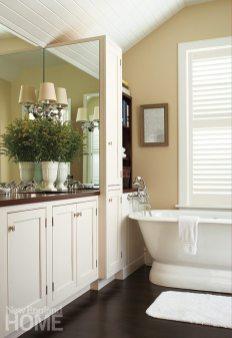 The master bath vanity sports a mahogany counter.