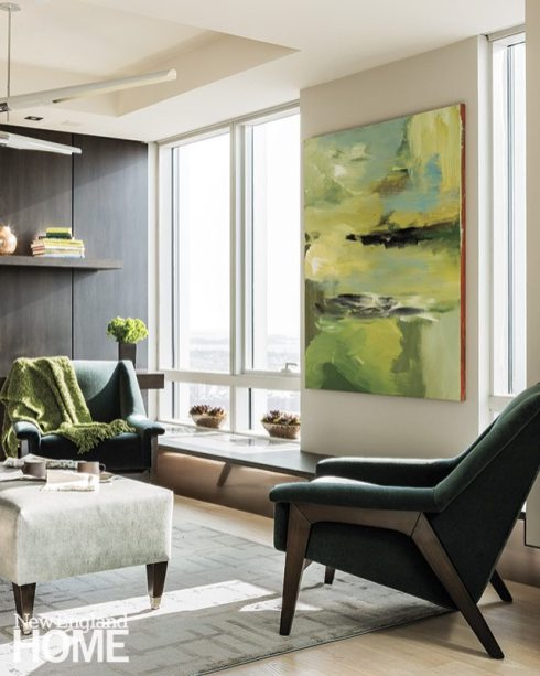 Chartreuse accents in a Boston high-rise interior by Paula Daher.