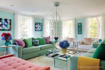 Homeowner/designer Margo Ouellette chose a palette of blues and greens to represent the ocean and sky.