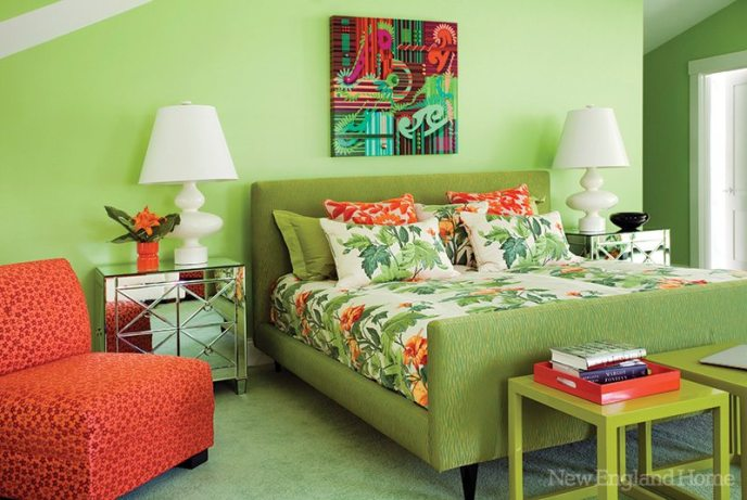 In a departure from the home's cooler tones, Ouellette designed this bedroom around a floral pattern she loves.