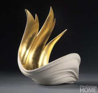 Gilded Wing (2011), 8″H × 10″W × 9″D, porcelain and 23-karat gold.