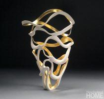Gilded Ribbon Vessel (2011), 14″H × 10″W, porcelain and 23-karat gold.
