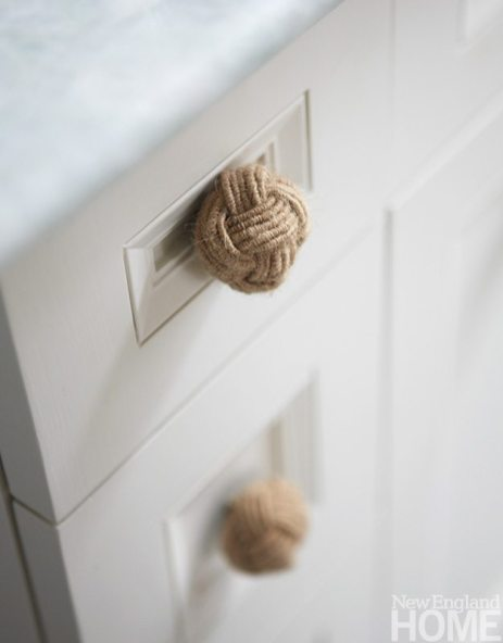 Knotted rope drawer pulls add a punch of nautical flair.