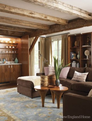 Davis says she chose materials that look as though they belong here, as in this cozy retreat behind the living room.