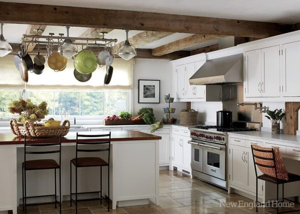 Beams hold the racks for pots and pans.