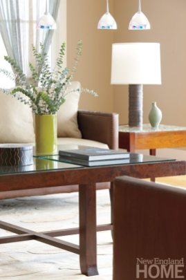 Pendant lights help make a focal point of the family room's seating arrangement.