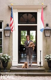 With her canine welcoming committee, owner and innkeeper Regine Laverge-Schade greets visitors at the front door.