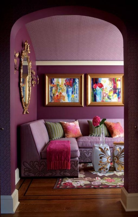 Rinfret designed an ultra-feminine sofa for the guest suite's plum-colored sitting room.