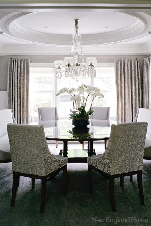 Dining room furniture features fabric from Loro Piana and William Yeoward.