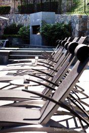 The patio features Royal Botania furniture.