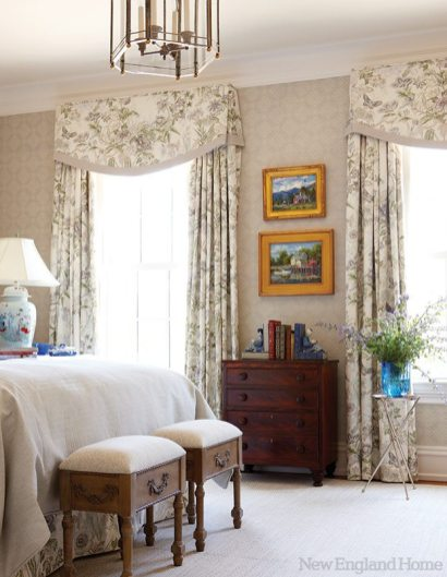 A pretty Cowtan & Tout fabric dresses the guest room's windows.