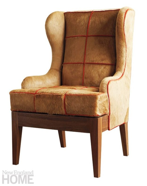 Dining Chair no. One Eighty is upholstered in a velvety hide with suede piping.