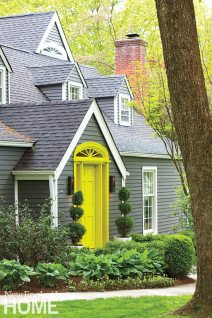 All of the doors to the house are painted citron, adding pizzazz while being appropriate to the rural setting.