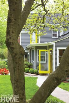 Traditional gray and white go bold with an accent of citron.