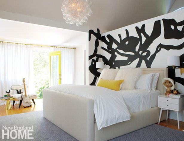 A dynamic mural by Rosenthal adds energy to the large, sunny master bedroom.