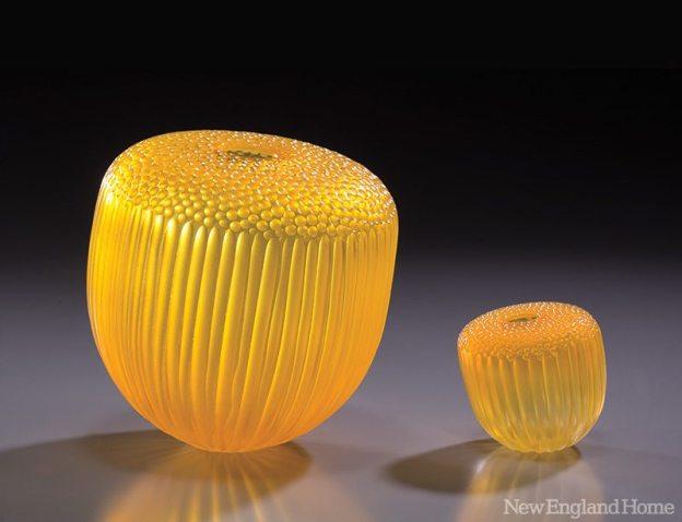 """Saffron Acorns (2009), blown and carved glass, 10""""H x 11""""W x 7""""D"""