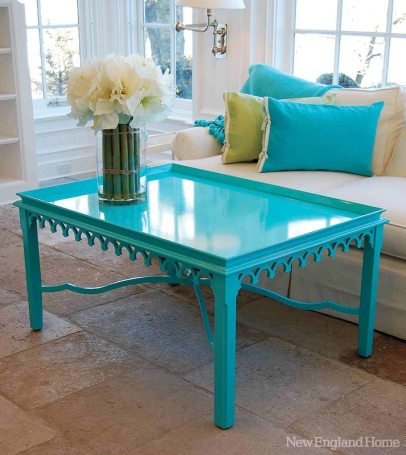 """Poplar wood """"newport"""" coffee table with oomph's bright-blue hue called synergy."""
