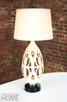 """Vintage Lamp """"Ellen Scarborough is a great resource for unusual things. This dramatic, oversize lamp, with its geometric cutouts, reminds me of Matisse's late work. It's glazed white with a dark yellow inside. I usually bring my finds to The Accessory Store for shades, and they can rewire anything."""" Ellen Ward Scarborough Antiques, Stamford, (203) 329-0100, ellenwardscarboroughantiques.com"""