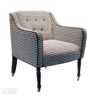 """Vintage Club Chair """"I am always looking for great pieces that have good lines and can be repurposed. This chair was found in one of the multi-dealer warehouses in Stamford. I reupholstered it in a black-and-white houndstooth fabric from Lee Jofa, which imparts a classic pattern onto the form of the simple geometry of this chair."""" Similar chairs through Hiden Galleries, Stamford, (203) 363-0003, hidengalleries.net"""
