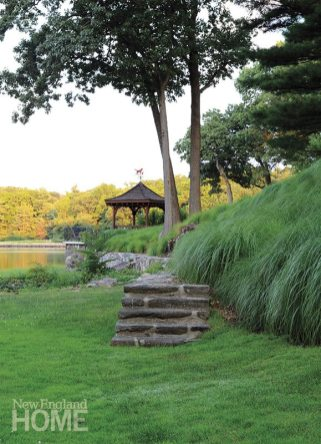 The gazebo perched on a small promontory provides a sense of solitude
