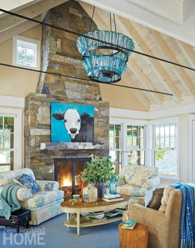 Lake Champlain vacation home coffered ceiling