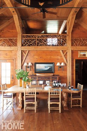 Much of the custom woodwork, including the dining table, was crafted by Massachusetts artisan Thomas Sippel.