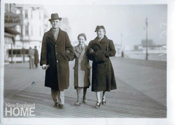The founder of Decorative Crafts, Milton Cohn, with son Richard and wife Frieda, circa 1940.