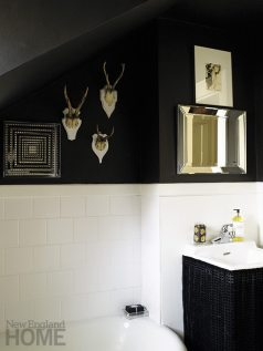 """""""Bubble baths revive me,"""" says the designer, praising her master bath with its smart black-and-white theme."""