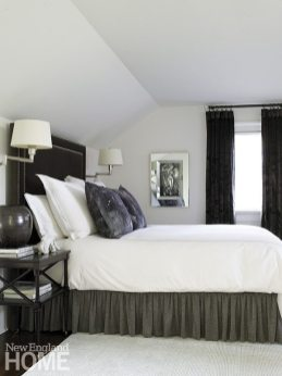 Holly Hunt velvet gives the master bed headboard a sumptuous look and feel.