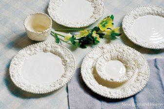 White earthenware plates (11-inch dinner; 7-inch butter), handmade in 2011.