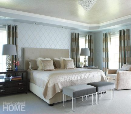 In the master bedroom, Glick achieved both serenity and glamour by covering the ceiling with crushed-mica wallpaper and outfitting the custom headboard in silk and mohair.