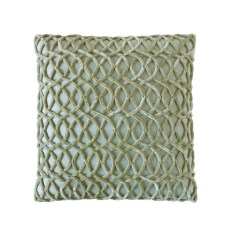 "Lattice Velvet Pillow from Dransfield & Ross: ""Rich and luxurious, this velvet pillow in celadon adds an elegant touch to what could otherwise be viewed as a less formal space. The soft interlocking pattern creates a sense of complete and utter peace in a sleeping porch sanctuary."" Through Jmac Interiors"