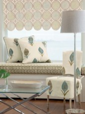 "Helix Fabric by Travers: ""I love the bright and cheerful pattern of this Roman shade made with Helix printed linen fabric by Travers. The graphic pattern is a natural with the scallop design of the shade and effectively softens the window it adorns."" Zimmer & Rohde, Stamford, (203) 327-1400, www.zimmer-rohde.com"
