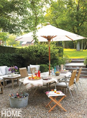 The step-down patio, just off the home's family room, is a favorite entertaining spot.
