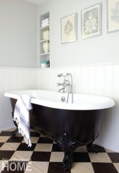 The silver prints in the charmingly retro bath are by New Milford artist and decorator Ron Norsworthy.