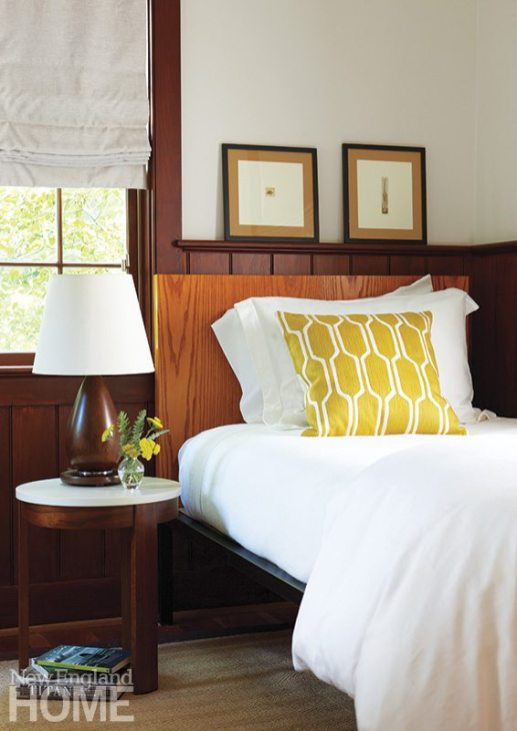 A welcoming guesthouse bedroom, dressed for summer.