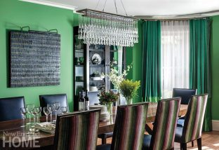 Colorful apartment for empty nesters dining room
