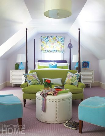A grass-green settee and aqua chairs complement the pale-raspberry walls and violet-and-white rug in the daughter's bedroom.