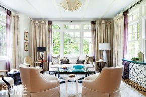 The homeowners opted for a dressier look for the intimate living room.