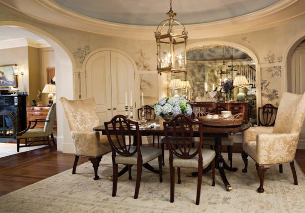 At the home's core, the dining room conjures airiness with a new domed ceiling.