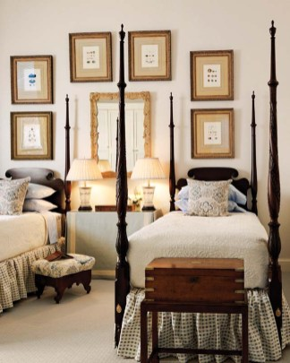 Stark carpeting softens the guest room.