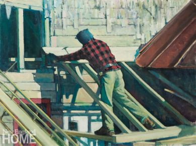 The Painter-Menemsha 1922 (2012), oil on canvas, 36″H × 48″W