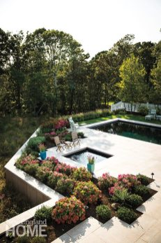 A plinth elevating the pool safeguards views for swimmers and loungers and eliminates the need for a fence.