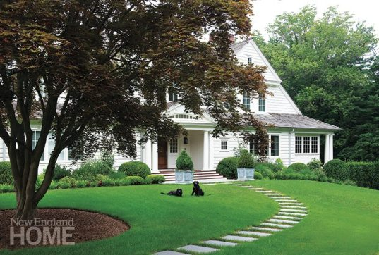 The simple landscape plan includes a New England beech tree that offers a shady spot for the family's two black Labs.