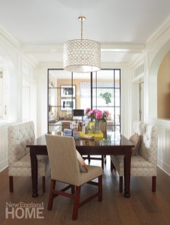 Sliding glass doors between the breakfast room and an office let light flow through the house.