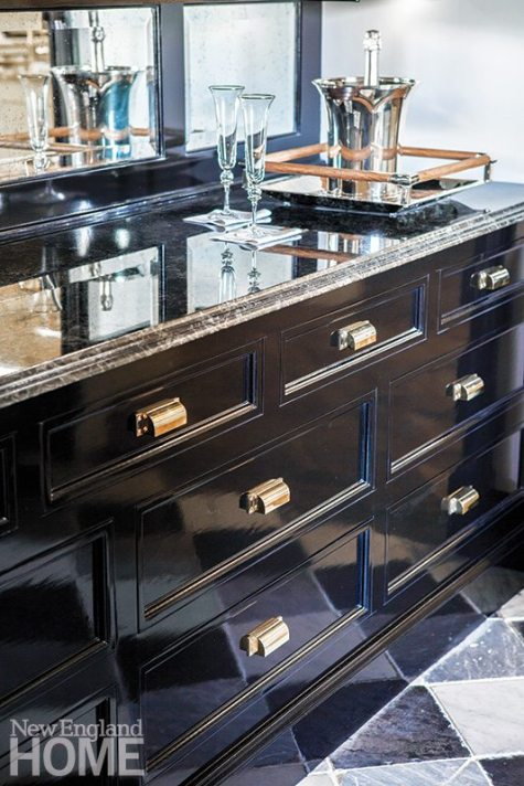 Fine cabinetry with exceptional hardware is the hallmark of a Christopher Peacock kitchen.